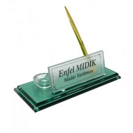 Plaket Fabrikasi Yeşil Renkli Ataçlık ve Kalemli Çift Cam Kristal İsimlik