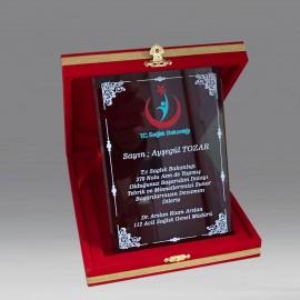 Kırmızı Kadife Kutu Füme Kristal Plaket 12x16cm